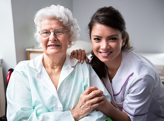 Checking an old lady patient